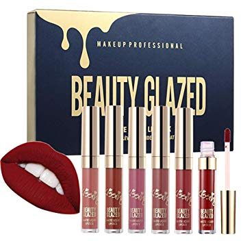 Beauty Glazed 6pcsset Makeup Matte Not Faded Lipstick Lip Kit Gloss Long Lasting Lip Stick Cosmetics Mini Set