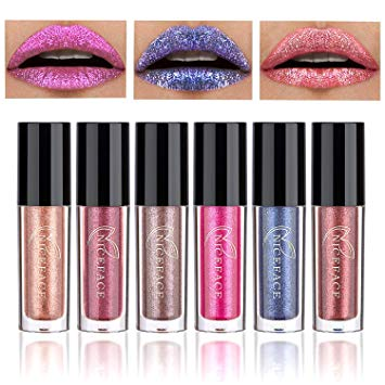 Coosa 6PCS Non-stick Cup Metal Shining Lipstick Waterproof Sparkling Lip Gloss Vivid Color Matte Lip Liquid Long Lasting Makeup 6 Colors (Set 4)
