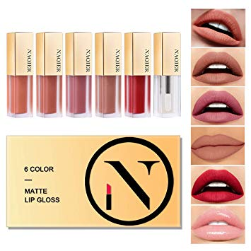 NAQIER Matte Velvety Lip gloss Set, 6PCS Nude liquid lipstick Moisturizer Smooth