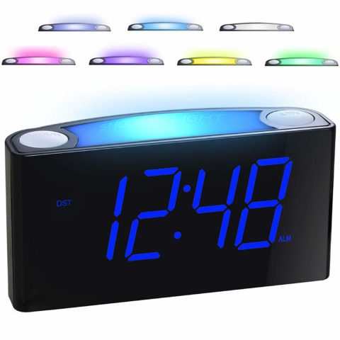 Alarm Clock for Bedrooms - 7 Color Night Light
