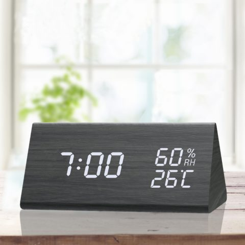 Digital Alarm Clock, with Wooden Electronic LED Time Display