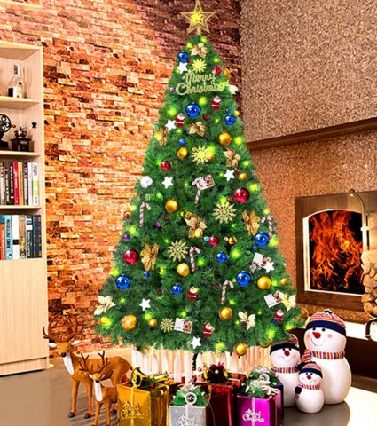 LUTER 7.5 Ft Artificial Christmas Tree Spruce Hinged Xmas
