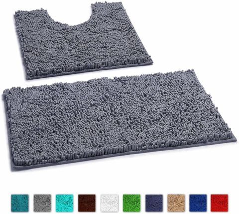 LuxUrux Bathroom Rugs Super Thick Chenille Luxury