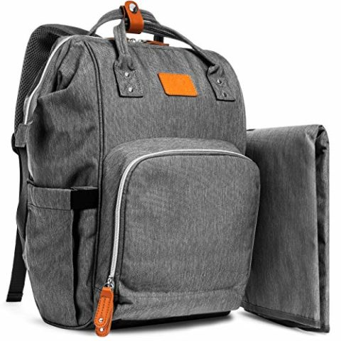 Grey Large Capacity Diaper Bag Backpack for MomDad