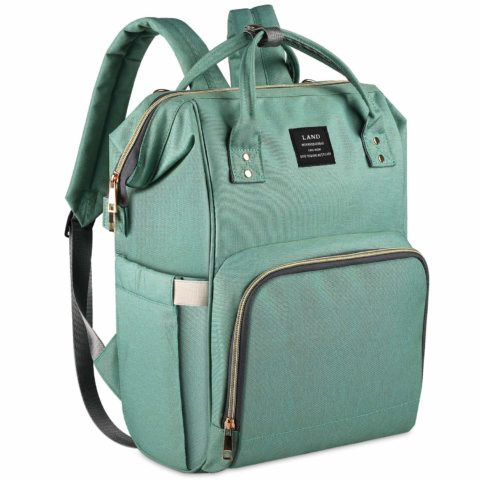 Land Green Diaper Bag for Mom Dad Roomy