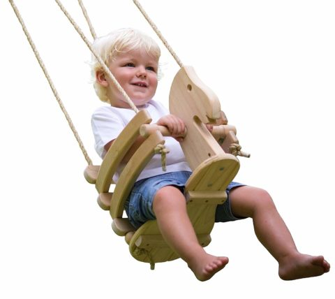 Wooden Horse Baby Swing for Outdoor Porch