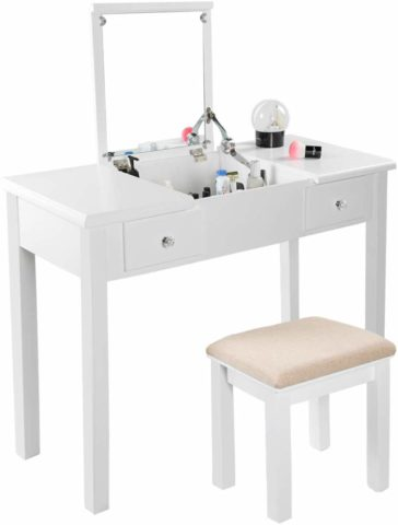 AODAILIHB Vanity Table with Flip Top Mirror Makeup