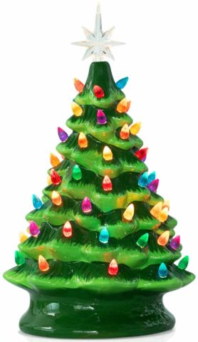 Ceramic Christmas Tree with Multicolored Light
