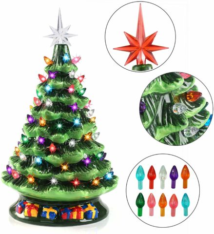Joiedomi 15 Tabletop Prelit Ceramic Christmas Tree