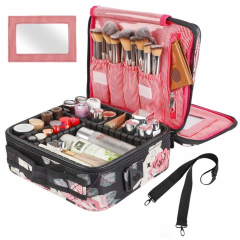 Kootek Travel Makeup Bag 2 Layer Portable Train