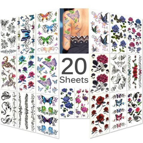 Lady Up 20 Sheets Mixed Style Body Art Temporary Tattoos Paper