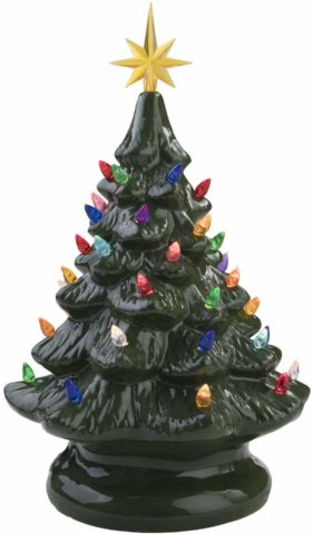 Miles Kimball 14 Retro Prelit Ceramic Tabletop Christmas Tree