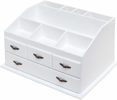 Shabby Chic White Wood 8 Trays 4 Storage Drawer