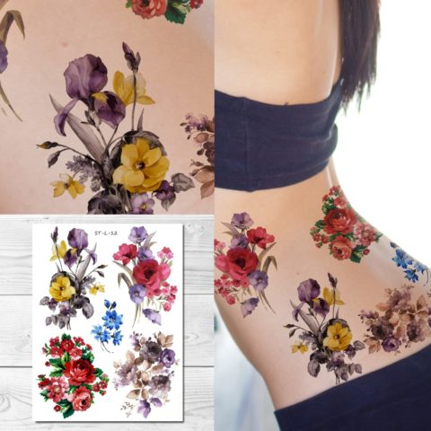 Supperb Temporary Tattoos - Mix Bouquet of Flowers