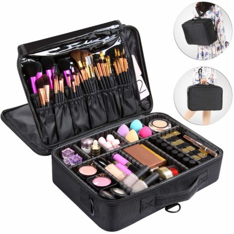 Valdler 3 Layer Large Makeup Bag Portable Travel