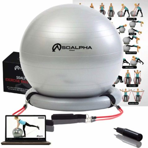 Soalpha Exercise Ball with 15LB Resistance Bands