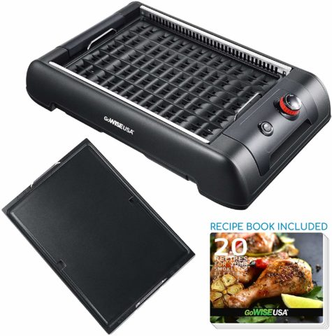 GoWISE USA GW88000 2-in-1 Smokeless Indoor Grill
