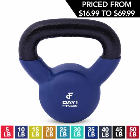 Kettlebell Weights Vinyl Coated Iron by Day 1 Fitness