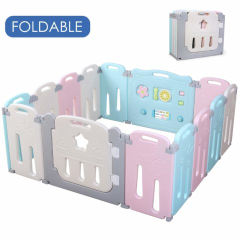 POTBY Foldable Baby Playpen 14 Panel Activity Center