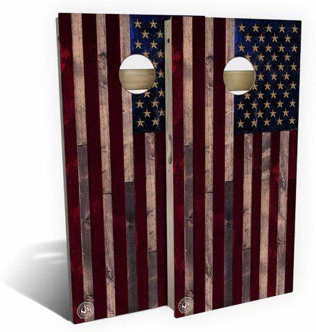 Slick Woody'S Full Color Rustic American Flag Cornhole Set