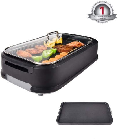 YOURLITE Electric Smokeless Grill with Tempered Glass Lid, Indoor BBQ Grilling